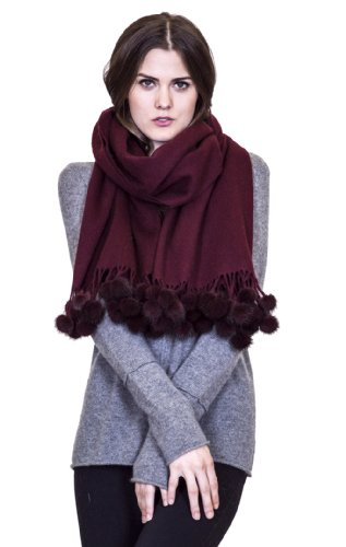 Cashmere scarves/shawl with mink pom-pom balls from Cashmere Pashmina Group (Wine) by Cashmere Pashmina Group