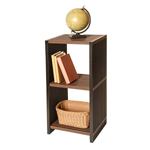 (3-Tier Folding Cube Storage Shelf - Water-Resistant Wood Storage Shelf - Brown)