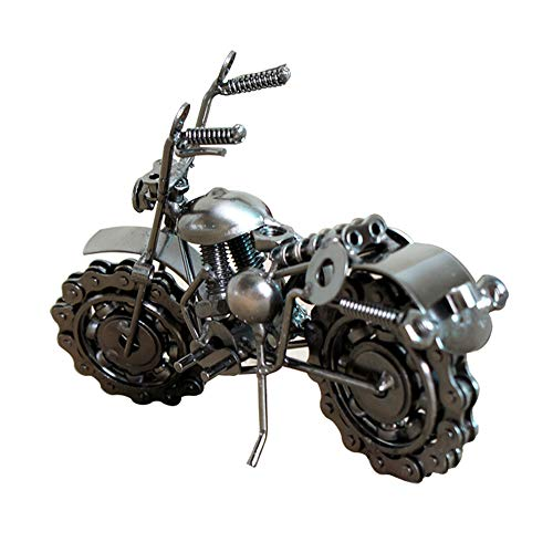 Konvinit Vintage Iron Motorbike Retro Model Handcrafted with Chain Wheel Nostalgia Classic for Collectible Art Sculpture for Motorcycle Lovers, Bronze Tone Metal (Black) - Classic Sculpture
