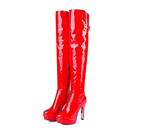 NVXIE Women's Over Knee Thigh Boots Long Boot Patent Leather Side Zipper Rough High Heel Black Red Fall Winter Party Nightclub RED-EUR40UK7 pyQpsBBYYh
