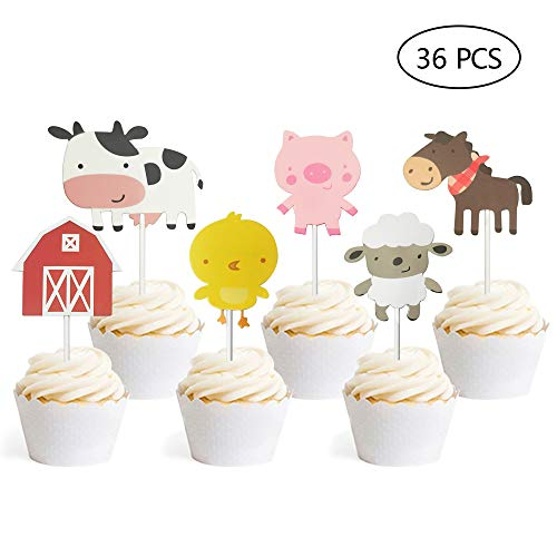36 PCS Farm Animal Theme Cupcake Topper Cake Picks Decoration for Baby Shower Birthday Party Favors]()