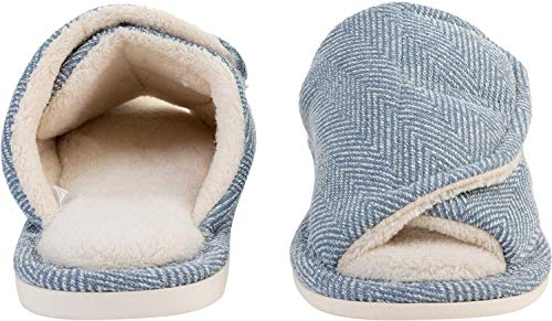 Coral Velvet Slipper Adjustable Men JOINFREE Blue Closure Home and Faux Women Fur for anZ6PvxwT