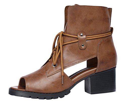 WUXING Women's Fashion Spring Summer Peep Lace Chunky Mid Heels Boots(7.5 B(M)US, khaki)