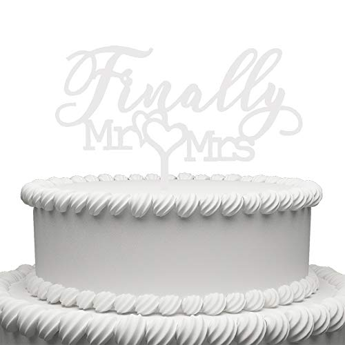 Finally Mr Mrs Acrylic Cake Topper For Wedding Engagement Bridal Shower Cake Decorations (White) -