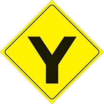 Amazon.com : Voss Signs Yellow Plastic Reflective Sign 12 ... Y Intersection Sign