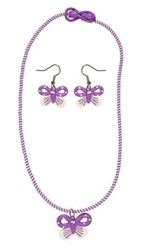 Bisutería infantil (plástico, multicolor–Collar y Pendientes–Mariposa–Púrpura