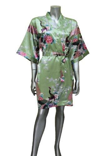 Women s Green Kimono Silk Satin Bath Wrap Robe Peacock Design fa7cb215a