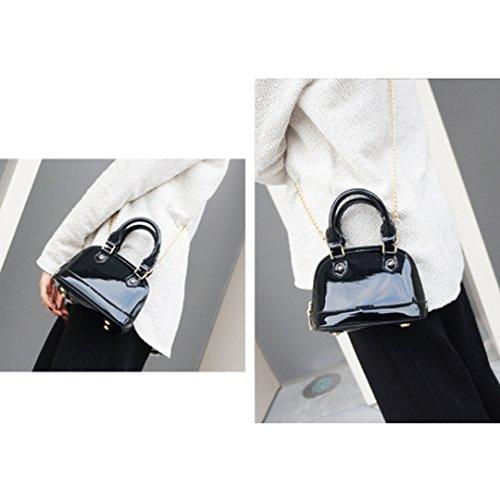 Bag Monique Chain 514 Satchel Handbag Bright Shell Patent Black Leather Cross Bag body Women 4w4Zaqx1