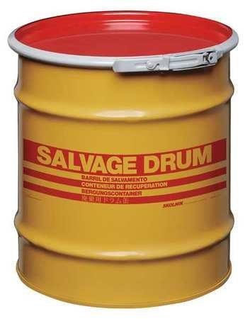 Salvage Drum, Open Head, 10 gal., Yellow