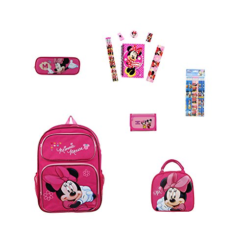 - A 24 Piece Cars Gift Set: 1 Backpack, 8 Piece stationery Set, 12 pencils, 1 Pencil Case, 1 Lunchbox, and 1 Zip Wallet. - Minnie Mouse