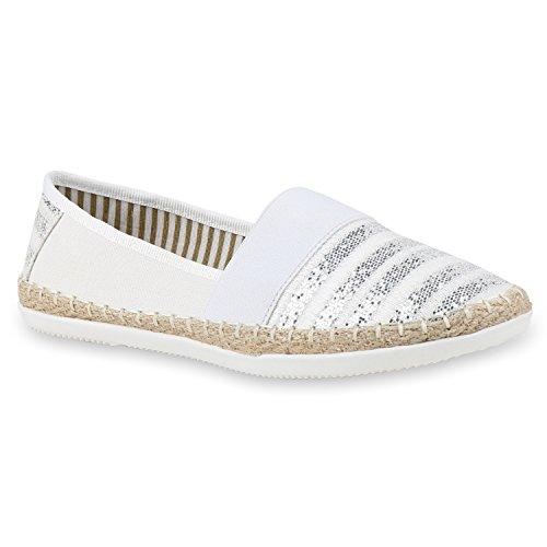 Stiefelparadies Bequeme Damen Espadrilles Bast Slipper Metallic Glitzer Flats Freizeitschuhe Sommerschuhe Flandell Weiß White