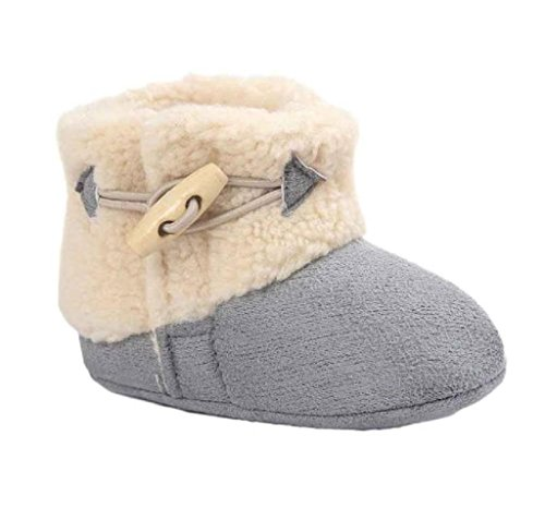Covermason Neugeborene Baby Weiche Sohle Schuhe Krippenschuhe Prewalker Warm Stiefel Grau