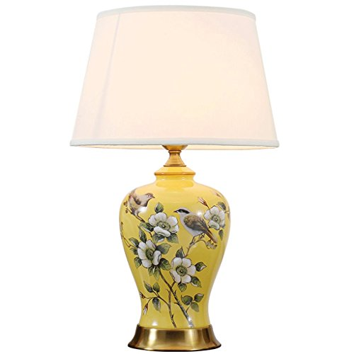Base Hand Painted Shade - Vintage Ceramic Desk Lamp Hand-painted Flowers And Birds Pattern Imitation Copper Base Linen Lamp Shade Bedroom Bedside Decorative Table Lamp (Size : L)