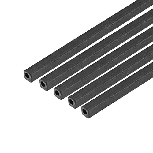 uxcell Carbon Fiber Square Tube 1.7x1.7x1mm Inner Round Diameter 400mm Length Pultruded Carbon Fiber Tubing for RC Airplane 5 Pcs