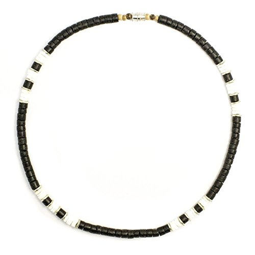 Green Nipa Hut Black Coco Bead Surfer Necklace With Puka Metal Accents