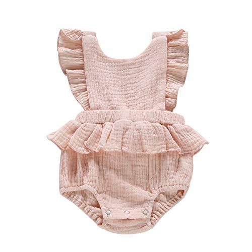Newborn Baby Girl Romper Bodysuits Cotton Ruffle Sleeve One-Piece Romper Halter Backless Jumpsuit Onesie Summer Clothes Light Pink (Pink Romper Girls Infant)