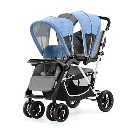 YZ-YUAN Pushchair Prams Baby Stroller Twin Light Double Can Sit Down Cart Travel System Foldable Infant Buggy with Reversible (Tray Compact Lite Cart)