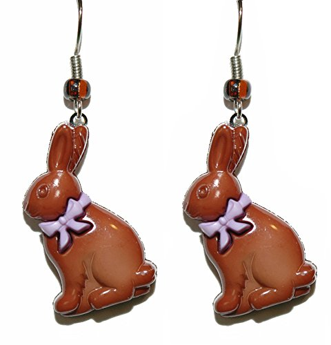 Chocolate Easter Bunny Dangle Earrings (H139a2) (Easter Jewelry)