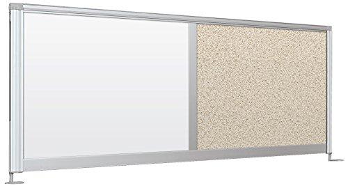 Balt Steel Workstation - Balt Desktop Privacy Panel, 58-Inch Combo, Porcelain/Pebbles Vinyl-Lt Quarry