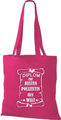 Shirtstown Bolso de tela Diploma para la besten Mujer policía der Welt fucsia