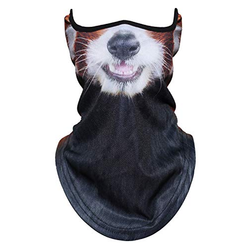 (JIUSY 3D Animal Neck Gaiter Neck Warmer Windproof Face Mask Windproof Protection Cover for Ski Snowboard Snowmobile Cycling Motorcycle Riding Halloween Party Outdoor Men Women Red Panda)
