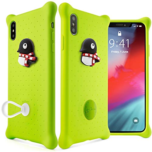 Bone Collection iPhone Xs Case iPhone X Case, Drop Protection Air Cushion Silicone Case with Ring Holder Cute Cartoon Girls Women Design for iPhone Xs 2018, Phone Bubble Series -Maru Penguin (Green)