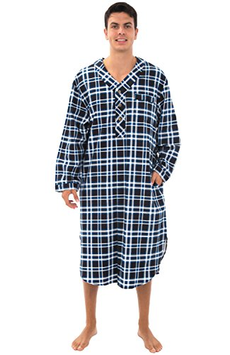 Alexander Del Rossa Mens Flannel Nightshirt, 100% Cotton Long Sleep Shirt, Medium Black and Blue Plaid (A0542P26MD)