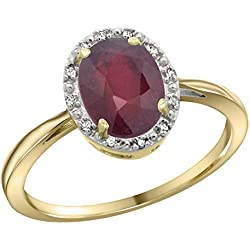 14K Yellow Gold Natural Enhanced Ruby Diamond Halo Ring Oval 8X6mm, 1/2 inch wide, sizes 5-10