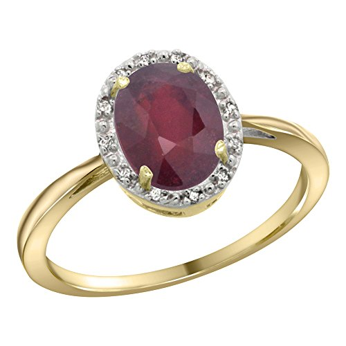 14K Yellow Gold Natural Ruby Diamond Halo Ring Oval 8X6mm, 1/2 inch wide, size 7 14k Yellow Gold Natural Ruby