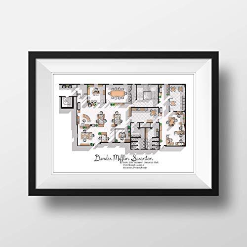 The Office US TV Show Poster - The Office US TV Show Office Floor Plan- Dunder Mifflin Scranton Office Layout - Gift for the Office TV show fan - The Office Poster