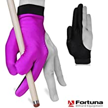 Billiard Pool Cue GLOVE by Fortuna - Classic Two-colored - For left hand - Purple/Black