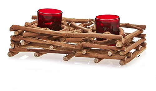 CC Home Furnishings Pack of 2 Country Rustic Natural Brown Wood Branch Christmas Double Candle Holders 10'' by CC Home Furnishings