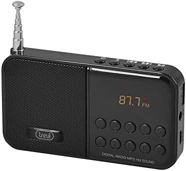 Trevi DR740SD - Radio FM portatil y reproductor de MP3 con entrada para tarjeta Micro-SD y batería recargable, color negro