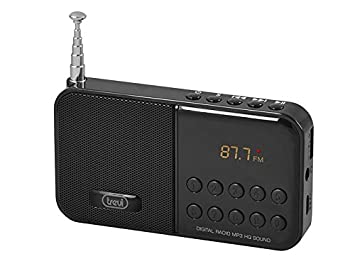 Trevi DR740SD - Radio FM portatil y reproductor de MP3 con entrada para tarjeta Micro-SD y batería recargable, color negro: Amazon.es: Electrónica