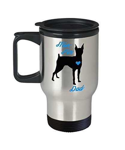 Min Pin Dad Travel Mug - Insulated Portable Coffee Cup With Handle & Lid - Perfect Christmas Gift Idea For Men Miniature Doberman Pinscher Dog Lovers - Novelty Mini Pet Quote Statement Accessories