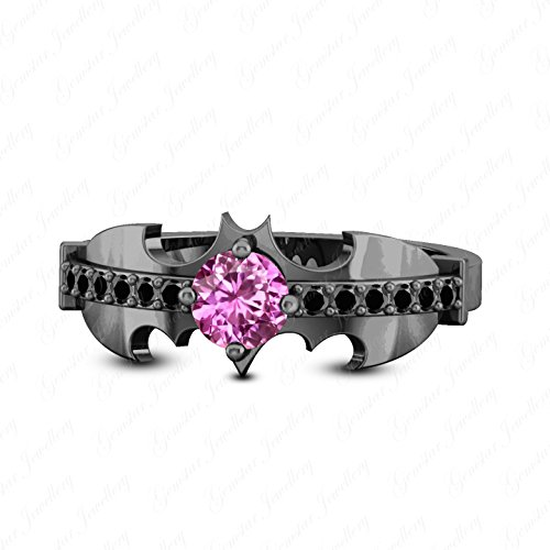 Batman Wedding Ring With Diamond (Gemstar Jewellery 18K Black Gold Plated Round Cut Pink Sapphire & Simulated Diamond Batman Wedding)