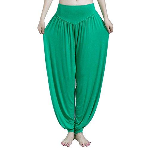 koineco de la mujer Modal algodón suave Yoga Sports Dance harén pantalones verde