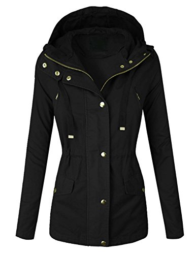Makeitmint Women's Zip Up Military Anorak Jacket w/ Hood [S-3XL] Medium YJH0018_BLACK