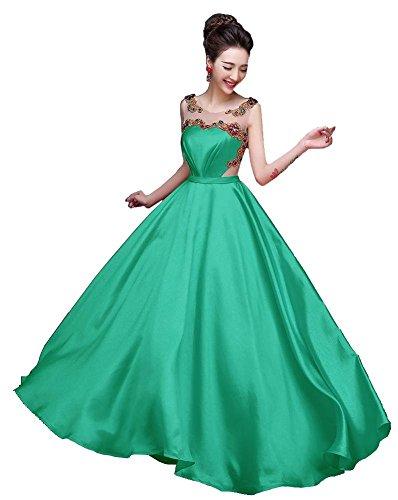Ohne Transparent Rumple Beauty Lange Grün Abendkleider Rundkragen Emily Arm rückenfrei F6Fxt