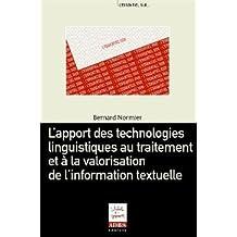 apport technologies linguistiques au trait. et valorisation information textuelle