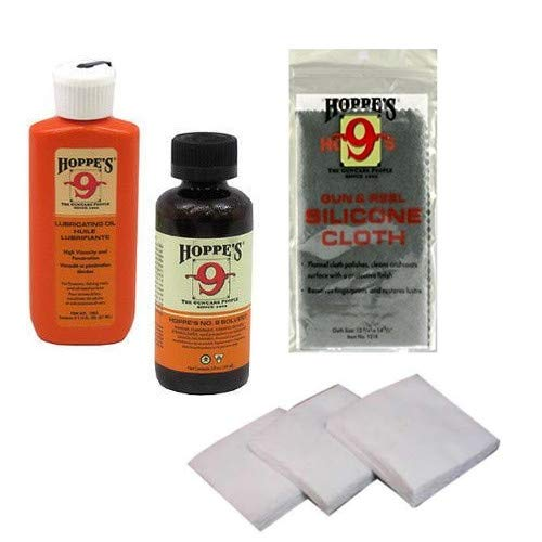 - Hoppes, Westlake Market Gun Bore Cleaner and Lubricating Oil with 40-50 Patches for .38, 9mm.40.44 and .45 Caliber Handguns/Pistols Plus Silicone Non-Abrasive Gun Cloth