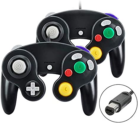 yidenguk Controlador de Gamecube, 2 paquetes Controlador de Gamecube con cable clásico Vibration Gamepad Compatible con Gamecube / Wii U / Wii / PC / Switch Controller, Negro