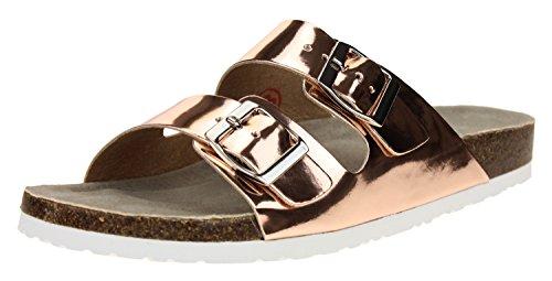 (Skechers Women's Two Strap Relax Fit Memory Foam Sandal Size 9 Rose Gold)