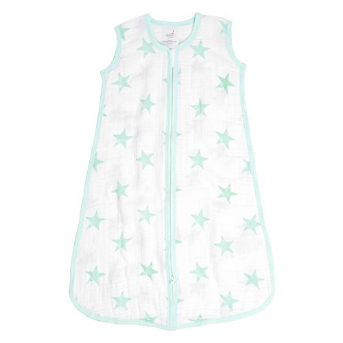 aden by aden + anais Classic Sleeping Bag, 100% Cotton Muslin, Wearable Baby Blanket, Dream, Stars, Large, 12-18 Months