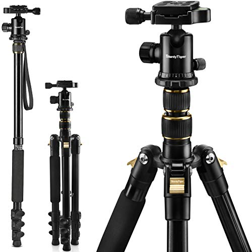 STURDY TIGER 56' Professional Camera Tripod & Monopod - Portable Tripod Stand with 360° Metal...
