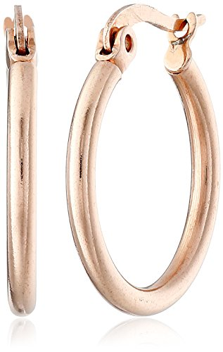 Rose 18k Small (Stainless Steel 18K Rose Gold-Plated Small Round Hoop Earrings)