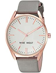 Nine West Womens NW/1994RGGY Rose Gold-Tone and Grey Strap Watch
