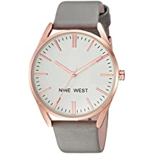 Nine West Women's NW/1994RGGY Rose Gold-Tone and Grey Strap Watch