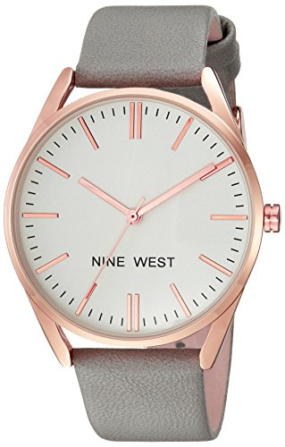 Nine West Women's NW/1994RGGY Rose Gold-Tone and Grey Strap Watch ()