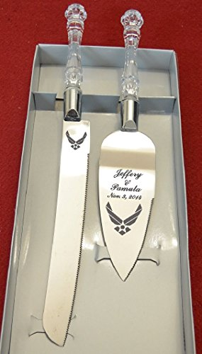 Military Air Force Engraved Wedding Cake Knife / Server Set Names and Date FREE ! (Cake Wedding Air Force)